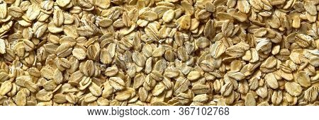 Close Up Of Oats Flakes. Oats Flakes Macro Shoot. Panorama. Background Of Golden Oat Flakes. Healthy