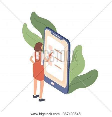 Colorful Woman Standing Near Giant Device Putting Mark At Planning App Vector Isometric Illustration