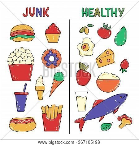 Healthy And Junk / Unhealthy Food. Fish, Cottage Cheese, Milk, Fruits And Vegetables Vs Popcorn, Swe