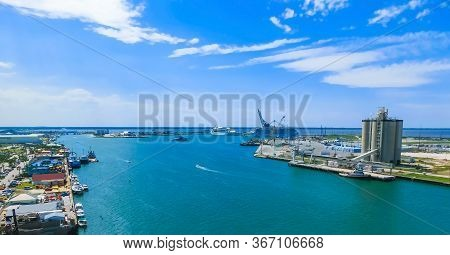 Cape Canaveral, Usa. The Arial View Of Port Canaveral From Cruise Ship, Docked In Port Canaveral, Br