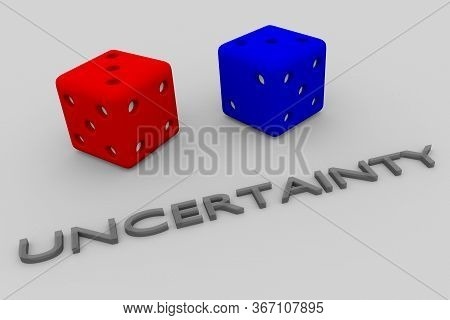 3d Illustration Of Uncertainty Title Written In Embossed Letters, With Two Dice.