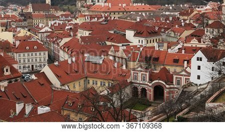Prague Roof Tops. Aerial View Of Old Terracotta Houses In Prague From Top Of City Hall. Famous Europ