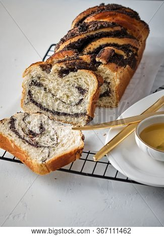 Swirl Brioche With Poppy Seeds. Easter Bread. Poppy Seed Braided Or Roll Bread, Babka. Traditional P