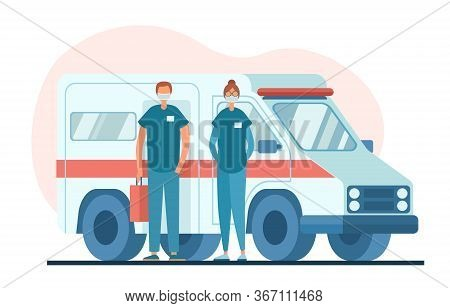 Medical Practitioners In Masks Standing Near Ambulance Van