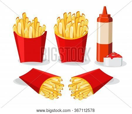 French Fries In Red Box  Illustration, French Fries With Chili Sauce And Ketchup