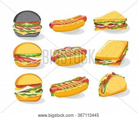 Burger Sandwich Bread Bun Icons Set, Fast Food Menu. Hamburger, Cheeseburger, Beefburger. Vector Ill