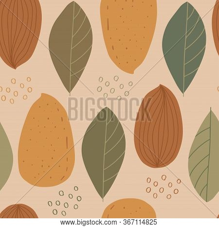 Seamless Pattern With Almond And Leaves. Healthy Diet. Modern Background For Packaging, Ads, Labels