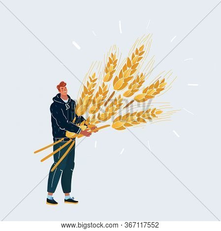 Man With Big Sheaf Of Wheat. Character On White Background.