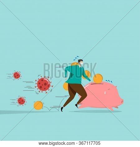 Saver, Investor With Piggy Bank Run Away From Covid-19 Coronavirus Pathogen. Stock Market Panic Sell