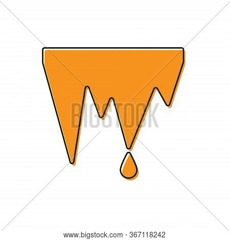 Orange Icicle Icon Isolated On White Background. Stalactite, Ice Spikes. Winter Weather, Snow Crysta