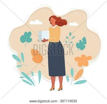 Vector Illustration Of Sad Woman Standing With Stack Of Paperwork.