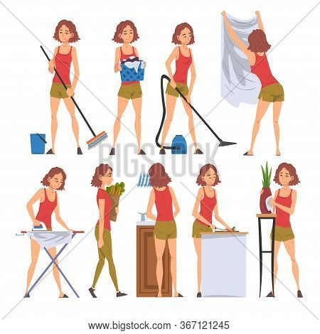 Housewife Character Household Activities Collection, Young Woman Cleaning, Vacuuming, Washing, Doing