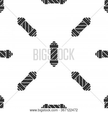Grey Classic Barber Shop Pole Icon Isolated Seamless Pattern On White Background. Barbershop Pole Sy