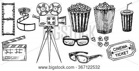 Cinema Sketch Collection. Hand Drawn Vector Illustrations. Movie And Film Elements In Sketch Style.