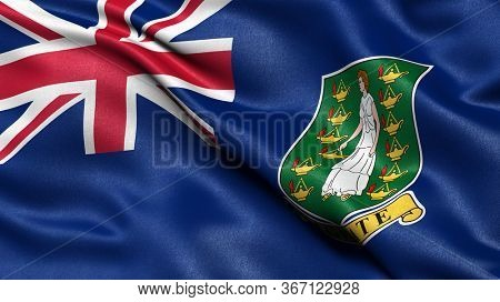3D illustration of the flag of the British Virgin Islands waving in the wind.