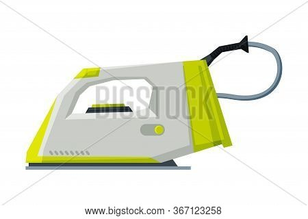 Electric Iron Household Appliance, Ironing Clothes Device Vector Illustration