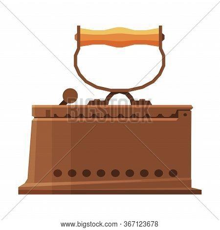Old Iron Household Appliance, Vintage Ironing Equipment Vector Illustration