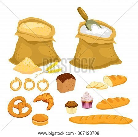 Vector Bread Collection. Flour And Grain Set. Cuisine Cartoon Bakery Food, Bagel And Baguette, Wheat