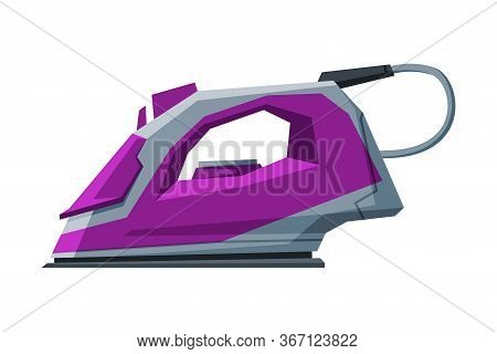 Modern Iron, Electric Household Appliance, Ironing Clothes Device Vector Illustration