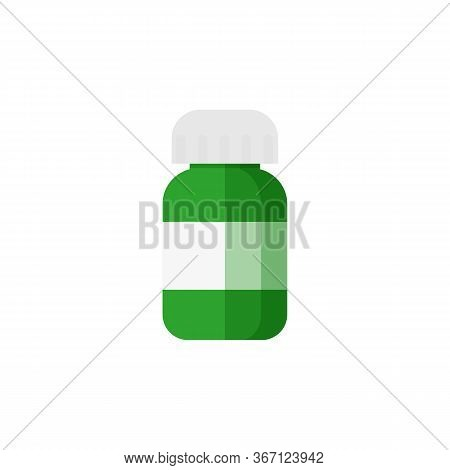 Green Pill Bottle Illustration. Label, Copy Space, Jar. Medicine Concept. Can Be Used For Topics Lik