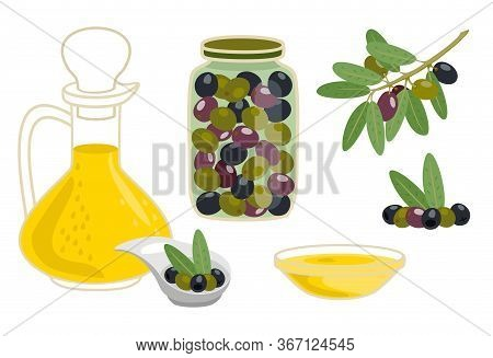 Organic Olive Oil In In A Glass Decanter And In A Cup. Composition With Green Leaves And Olives. Oli