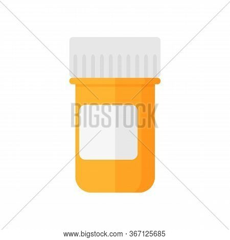 Medical Pill Jar Illustration. Blank Label, Pharmacy, Bottle, Container. Medicine Concept. Can Be Us
