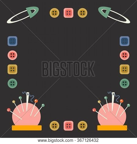 Sewing Accessory Vector Tamplate With Place For Text. Page For Tailors Advertising, Sew Shops And Cl