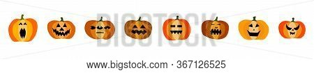 Set Of Halloween Scary Orange Pumpkins Isolated On White Background. Funny, Creepy, Smiling Faces. H