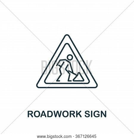 Roadwork Sign Icon From Work Safety Collection. Simple Line Element Roadwork Sign Symbol For Templat