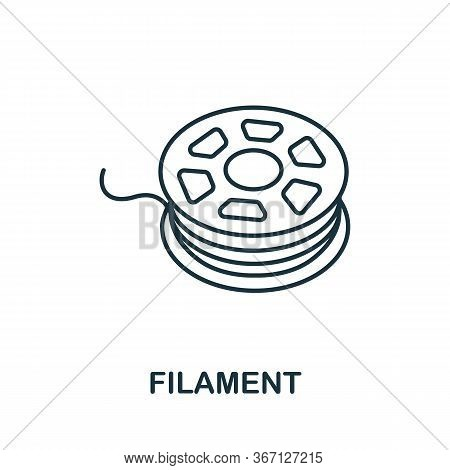 Filament Icon From 3d Printing Collection. Simple Line Filament Icon For Templates, Web Design And I