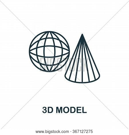 3d Model Icon From 3d Printing Collection. Simple Line 3d Model Icon For Templates, Web Design And I