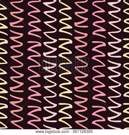 Colorful Pattern With Seamless Zigzag Ornament. Background For Linen Or Wallpaper. Repeating Minimal