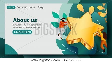 People Flying Around Golden Giant Star. Rate, Quality Or Feedback Concept. Web Site Template.