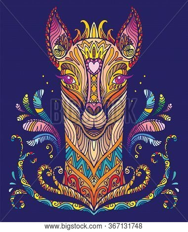 Vector Decorative Doodle Ornamental Lama. Abstract Vector Colorful Illustration Of Lama Isolated On