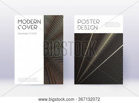 Minimal Cover Design Template Set. Gold Abstract Lines On Black Background. Curious Cover Design. Ra