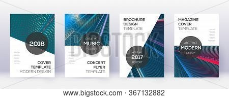 Modern Brochure Design Template Set. Red Abstract Lines On White Blue Background. Beauteous Brochure