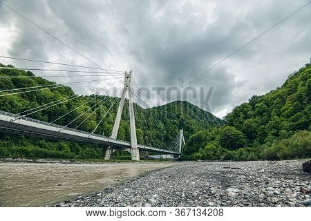 Cable-stayed Bridge Expressway Among The Mountains. Mountain River