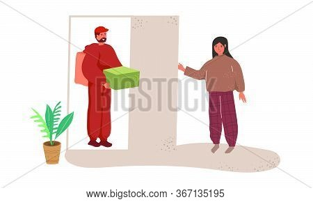 Home Delivery Food. Food Or Takeaway Products. The Delivery Man Brought An Order To The House. Carto