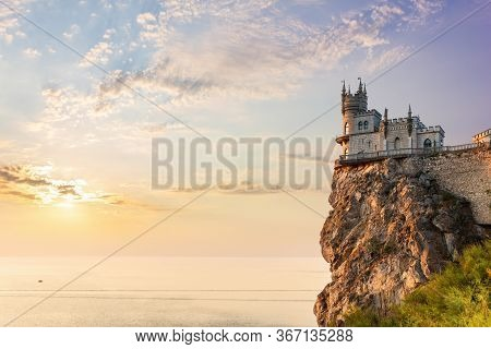 Swallow Nest Castle On The Mountain, Sunset View, Crimea