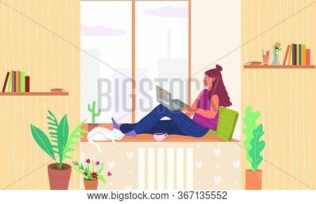 Student Freelancer Teenager Sitting On A Windowsill With A Laptop Vector Flat Illustration. A Teen O
