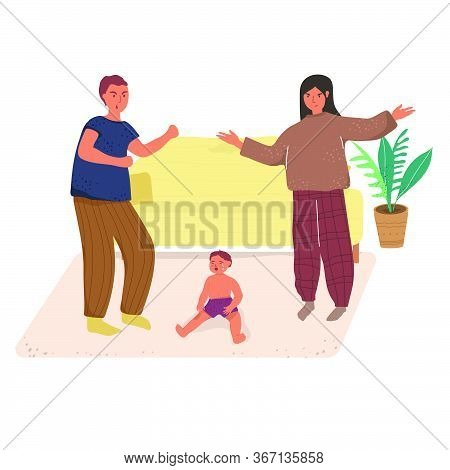 Scene With Family Quarrel. Spouses Quarreling And Crying. Family Misunderstanding. Crying Child. Fla