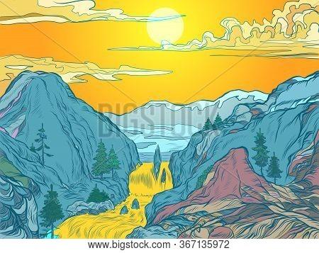 Mountains Sun River Mountain Resort Or Natural Park. Pop Art Retro Vector Illustration Vintage Kitsc