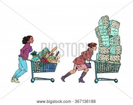 Panic Epidemic Women In The Supermarket. Pop Art Retro Vector Illustration Kitsch Vintage 50s 60s St