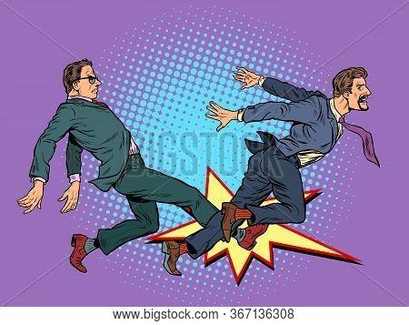 Men Fight Competition. Pop Art Retro Vector Illustration Kitsch Vintage 50s 60s Style