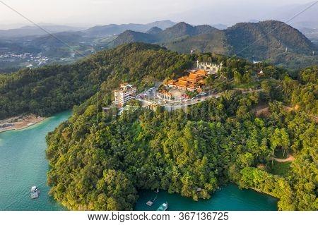 aerial view of Sun Moon Lake with Wen Wu temple at Nantou, Taiwan