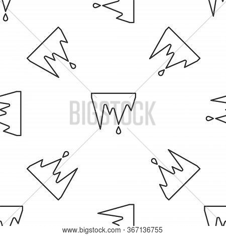 Grey Line Icicle Icon Isolated Seamless Pattern On White Background. Stalactite, Ice Spikes. Winter