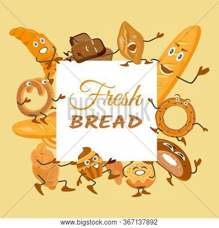 Cute Background With Bread Characters. Wheat, Rye And Whole Grain Bread. Funny Pretzel And Bagel, Ci