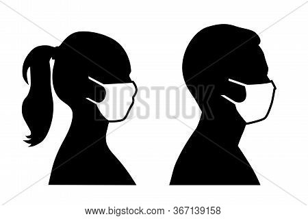 Set Of Black And White Vector Icons Of A Man And A Woman Wearing Protective Face Mask  - Covid-19 Sa