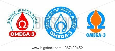 Omega 3 Icon, Vitamin And Fish Oil Drop, Fatty Acid Capsule, Essential Polyunsaturated Acids. Omega