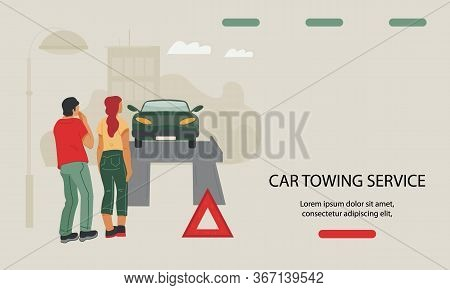 Car Towing And Repair Service Website Banner Template Vector Illustration.